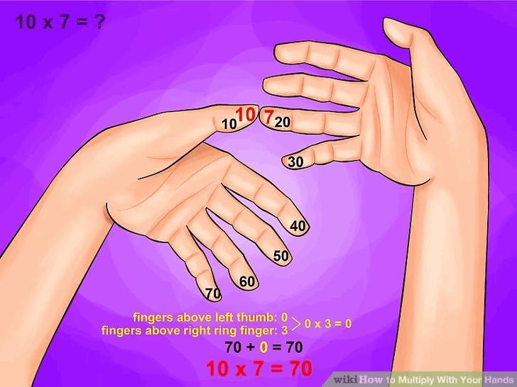 tabliczka mnozenia palcami na rekach 10
